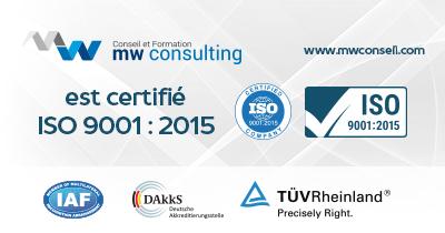 MW Consulting vient d'être certifié ISO 9001 : 2015